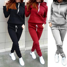 Load image into Gallery viewer, CALOFE Women Hoodies Pant Clothing Set New Casual 2 Piece SetsWarm Clothes Solid Tracksuit Women Set Top Pants Ladies Suit
