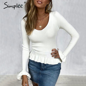 Simplee Ruffle knitted women sweater Flare sleeve v neck peplum tops sweater Autumn winter 2018 casual sweater female