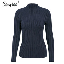 Load image into Gallery viewer, Simplee Multicolor knitted women pullover sweater Long sleeve top turtleneck female sweater Chic ladies casual bestmatch jumper