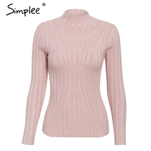 Simplee Multicolor knitted women pullover sweater Long sleeve top turtleneck female sweater Chic ladies casual bestmatch jumper