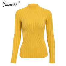 Load image into Gallery viewer, Simplee Casual tie up knitted sweater women Skinny slim knitting pull femme jumper Crop top winter sweater tricot pullover women
