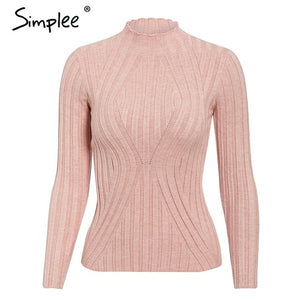 Simplee Casual tie up knitted sweater women Skinny slim knitting pull femme jumper Crop top winter sweater tricot pullover women