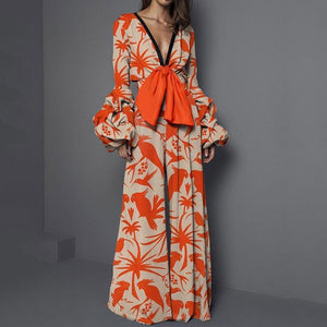 Floral Print V Neck Sexy Jumpsuit Women Romper Elegant Wide Leg Pants Fall Long Sleeve Jumpsuits Fashion Vintage Ladies Overalls