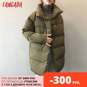 Tangada Women Amy Green Oversize Long Parkas Thick 2020 Winter Long Sleeve Buttons Pockets Female Warm  Coat ASF73