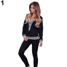 Load image into Gallery viewer, Women Fashion V-neck Sweatshirt Set Top Pants Casual Sportsuit Tracksuit OutfitFemmes camisa chemise camicia Mujer Clothes