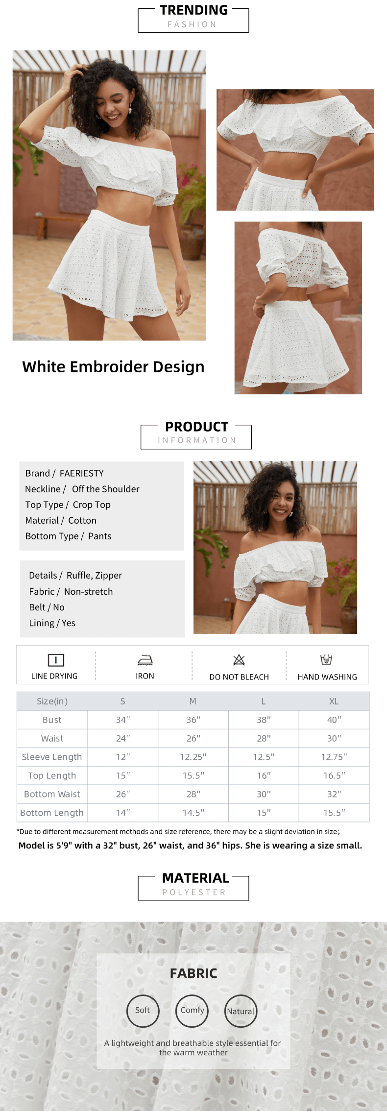 White Color Off the Shoulder Embroider Casual Pant Set
