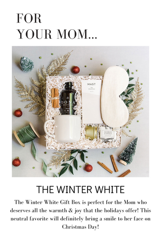 The Winter White Gift Box is perfect for the Mom who deserves all the warmth & joy that the holidays offer! This neutral favorite will definitely bring a smile to her face on Christmas Day!