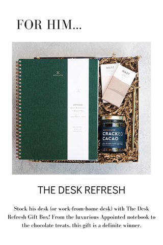 Stock his desk (or work-from-home desk) with The Desk Refresh Gift Box! From the luxurious Appointed notebook to the chocolate treats, this gift is a definite winner.