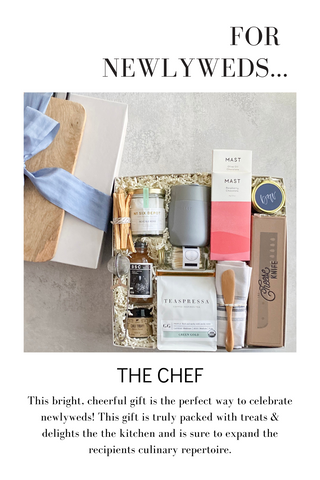 This bright, cheerful gift is the perfect way to celebrate newlyweds! This gift is truly packed with treats & delights the the kitchen and is sure to expand the recipients culinary repertoire.