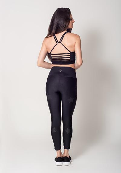 Seamless Black Legging Fitness Unique Model Stars View2