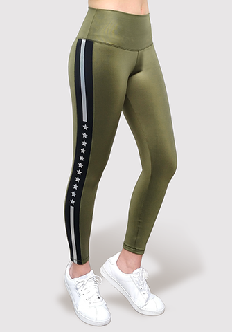 Silver Stripe with Stars Green Legging