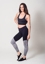 Animal Print Two Tone Legging With Snake Print View 2
