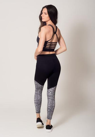 Animal Print Two Tone Legging With Snake Print View 3