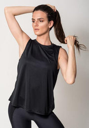Black Open Back Tank Athleisure view2