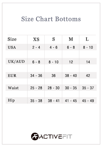 Size Chart Bottoms activefitwear.com