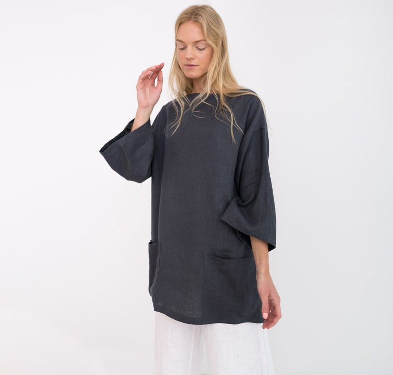 Alexis Oversized Linen Tunic Top