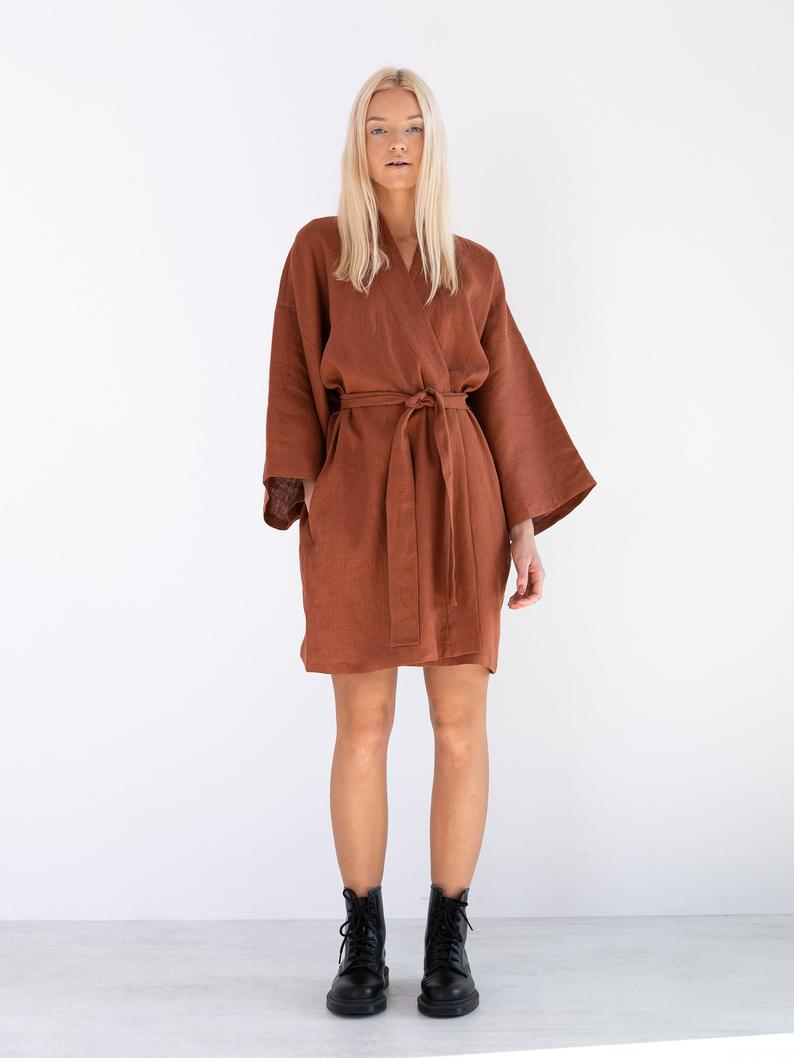 Athena Linen Wrap Dress