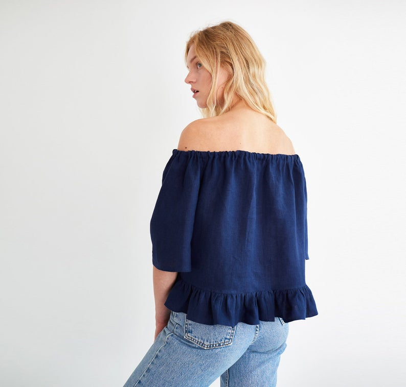 Celine Off The Shoulder Linen Top