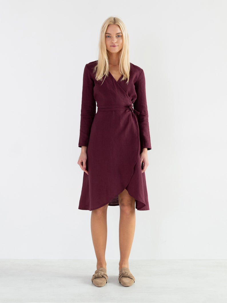 Claudia Linen Wrap Dress
