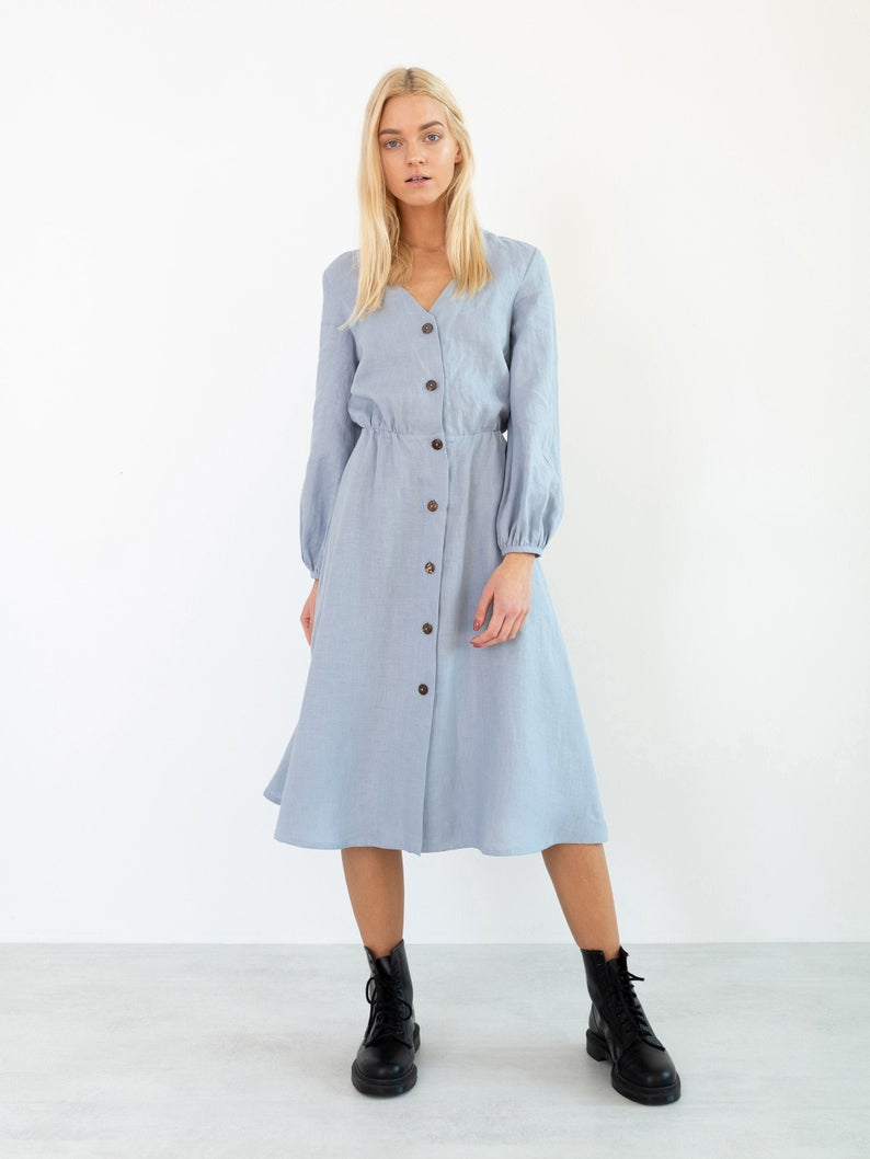 Dia Linen Button Down Dress