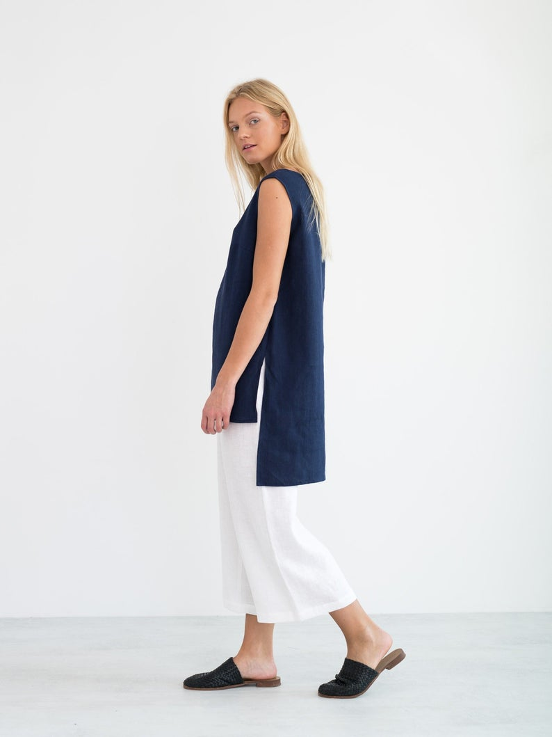 Heather Linen Tunic Top
