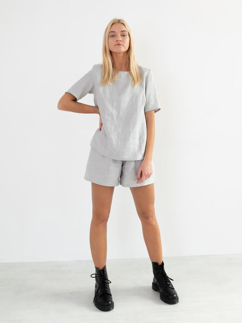 Isla High Waisted Linen Shorts