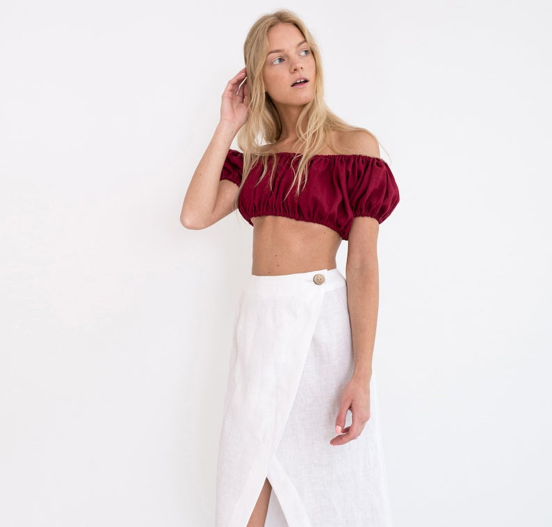 Valentina Linen Off The Shoulder Crop Top
