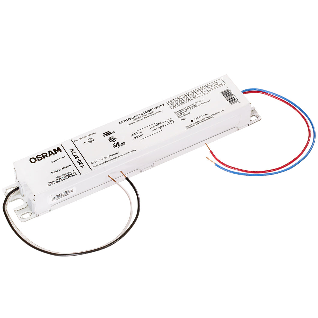 Osram 51522 Optotronic 96W 24V DC 120/277V AC 50/60Hz Constant Voltage Non- Dimmable LED Driver OT 96W/24V/UNV
