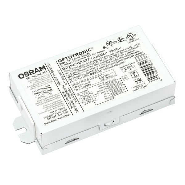 Osram 57347 Optotronic 25W 120V-277V AC 50/60Hz Constant Current Dimmable Compact LED Driver OTi 25W/120-277/1A2 DIM-1