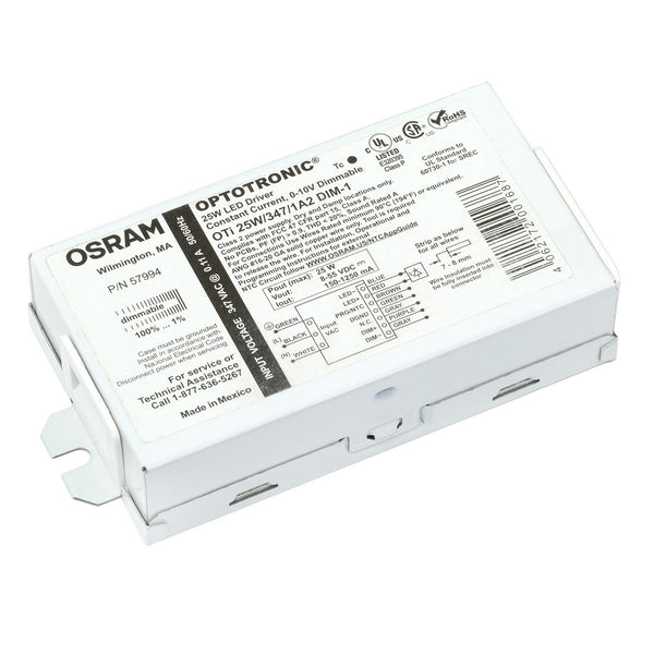 Osram 57994 Optotronic 25W 347V AC 50/60Hz Constant Current Dimmable Compact LED Driver OTi 25W/347/1A2 DIM-1