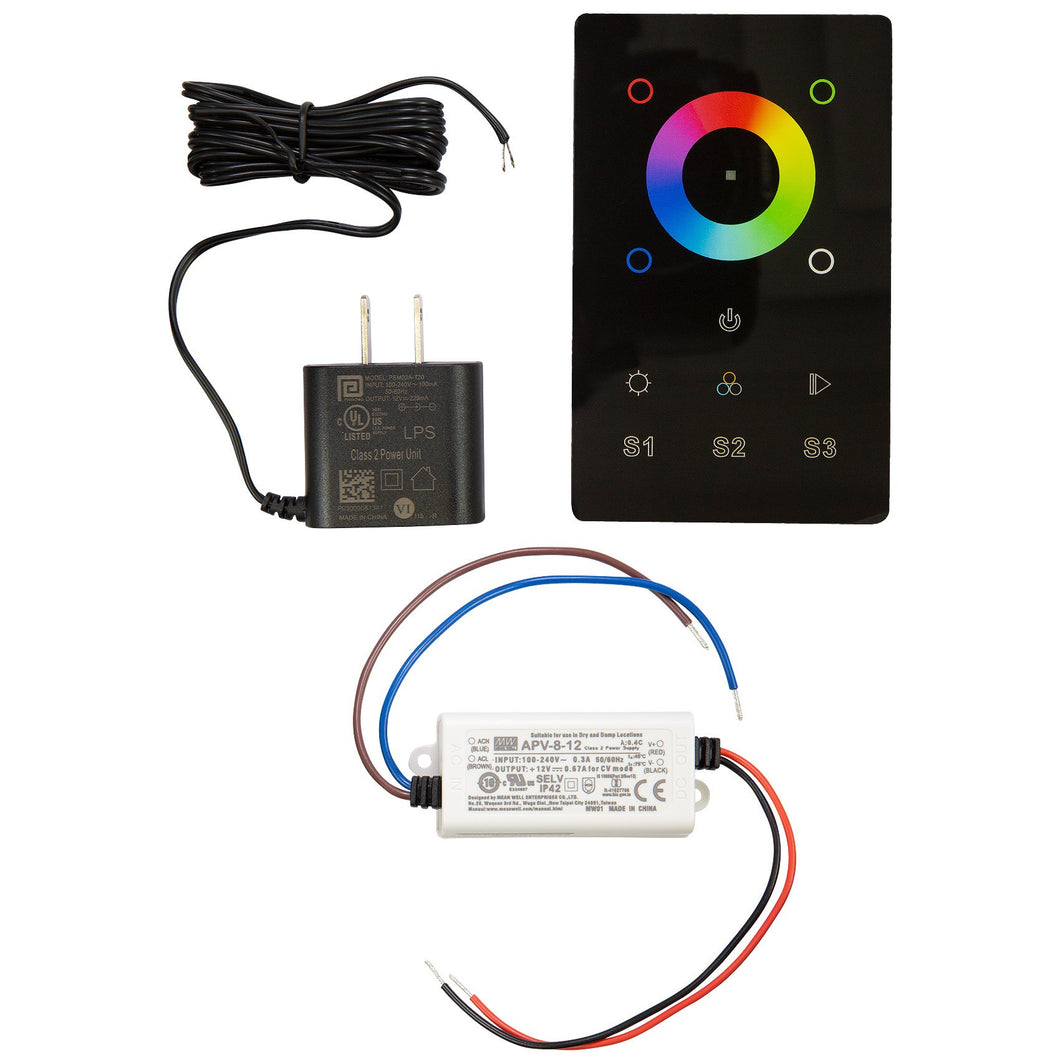 RGB & RGBW LED Touch DMX Wall Mounted Controller Kit - Black