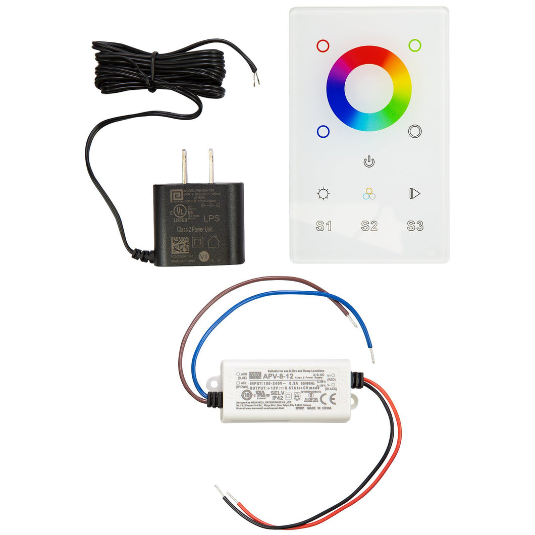 RGB & RGBW LED Touch DMX Wall Mounted Controller Kit - White