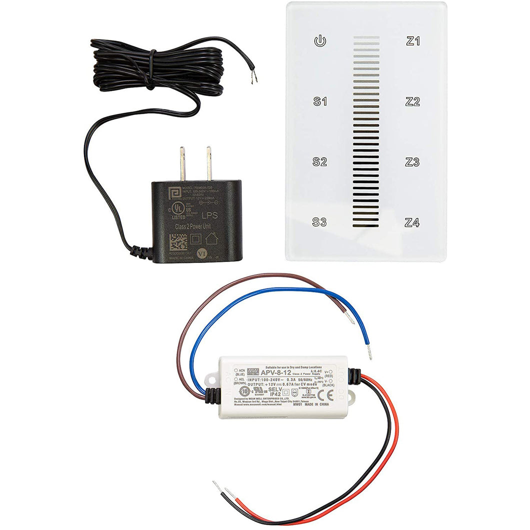 White & Single Color LED Touch DMX Wall Mounted Controller Kit - White