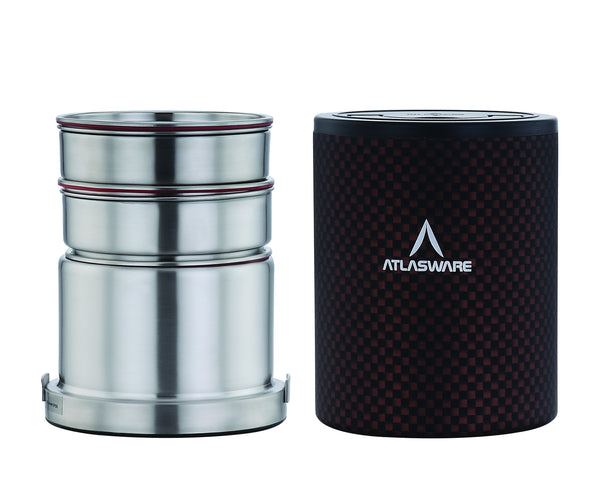 Atlasware Stainless Steel Black Chequered Lunch Box 1000ml (3 Container)