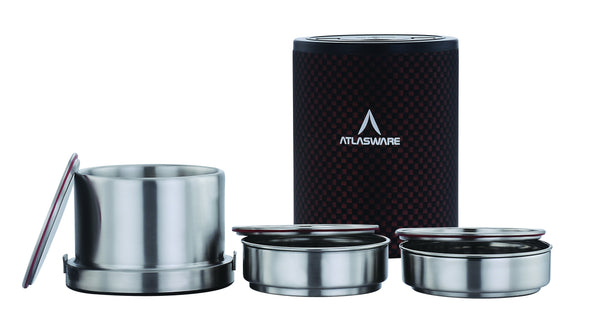 Atlasware Stainless Steel Brown Chequered Lunch Box 1000ml (3 Container)