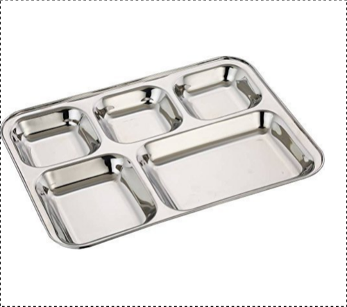 SS 5 Compartment Plate