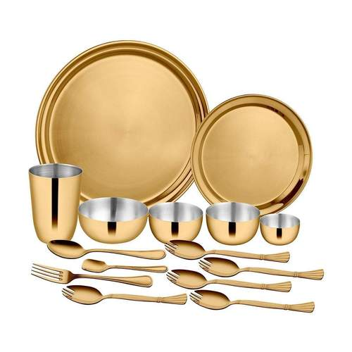 15 PCS Gold Dinner Set with PVD Coating - Majestic