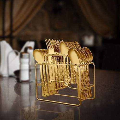 24 PCS Gold Cutlery set with PVD Coating - Impressa Hammered with stand