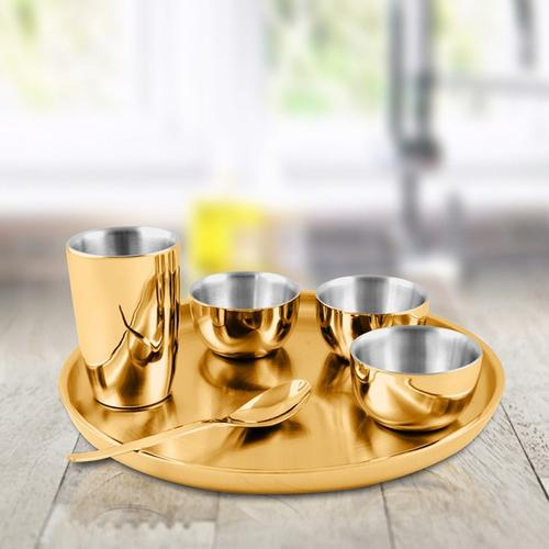 Gold Double Wall Thali Set with PVD Coating - Nikki
