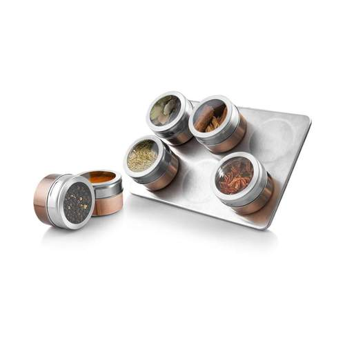 7 PC Stainless Steel Spice Jar Set with Tray