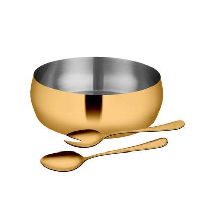 3 PCS Gold Salad Bowl with PVD Coating - Majestic