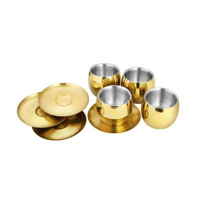 4 PCS Gold Cup and Saucer with PVD Coating - Double wall
