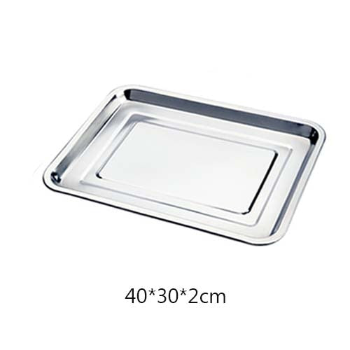 JINSERTA Stainless Steel Storage Trays Thick Pans Rectangular Multi-function Cafeteria Tray Barbecue Deep Rice Dishes Plate