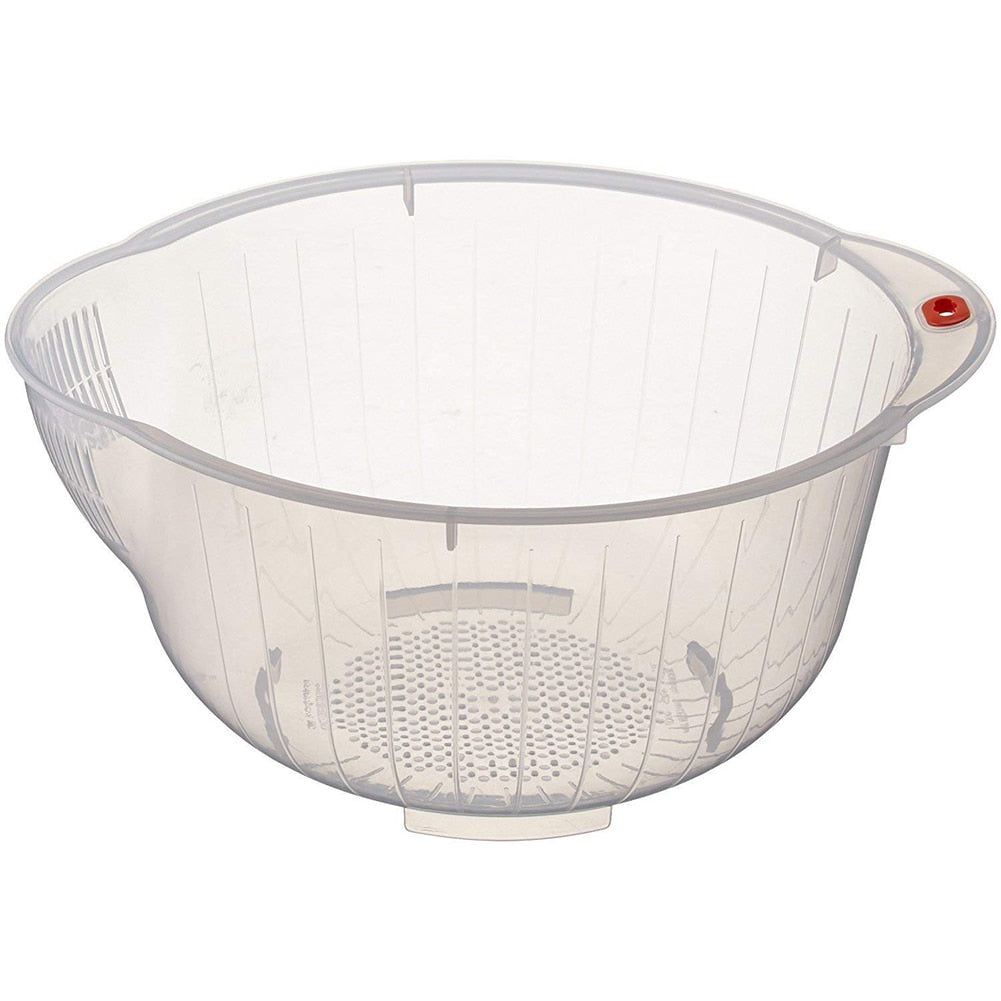 Kitchen Transparent Rice Washing Bowl Food Cleaning Strainer Rice Sieve Fruit Drain Basket With Side And Bottom Drainers Colorfu