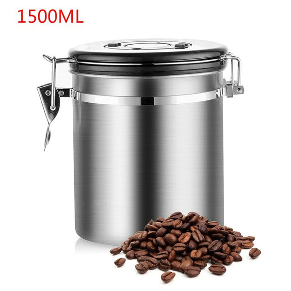 Stainless Steel Airtight Sealed Canister With Spoon Coffee Flour Sugar Container Holder Can Storage Bottles Jars For Coffee Bean