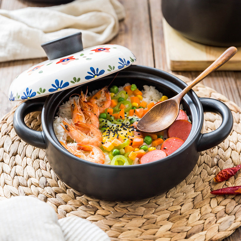 MDZF SWEETHOME Ceramic Soup Stew Pot with Lid Casserole Clay Pot Cookware Stone Pot