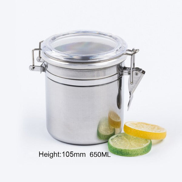 Food Storage Jars Stainless Steel Airtight Sealed Canister Coffee Flour Sugar Tea Container Holder Best Price