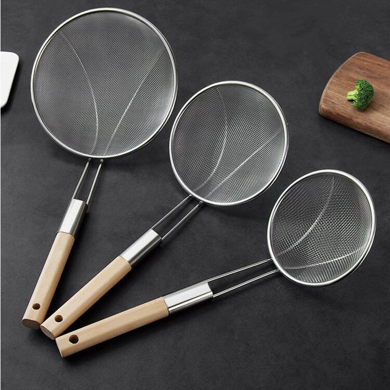 Reinforced Stainless steel colander soup spoon with wooden handle kitchen fine mesh strainer pot Frying Food Filter Cooking Tool