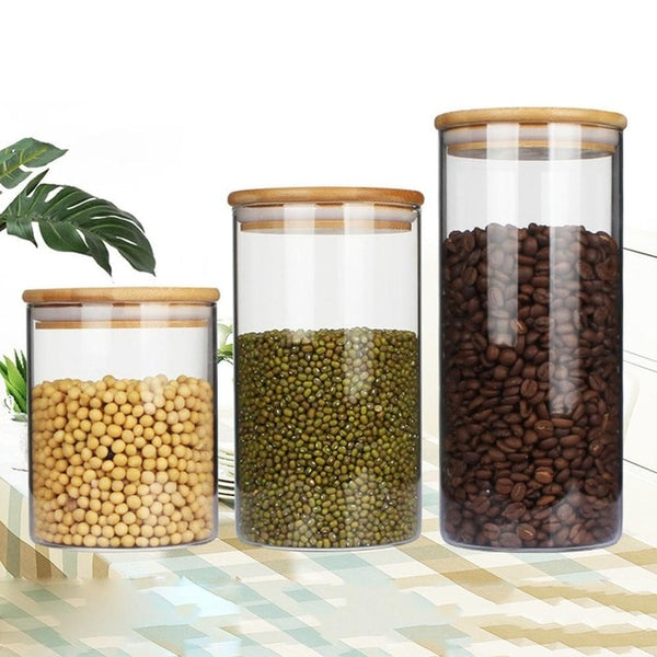 4pcs Airtight Glass Food Storage Jars Canister Kitchen Container Set With Bamboo Lid And Silicone Washer Glass Preservation Jar
