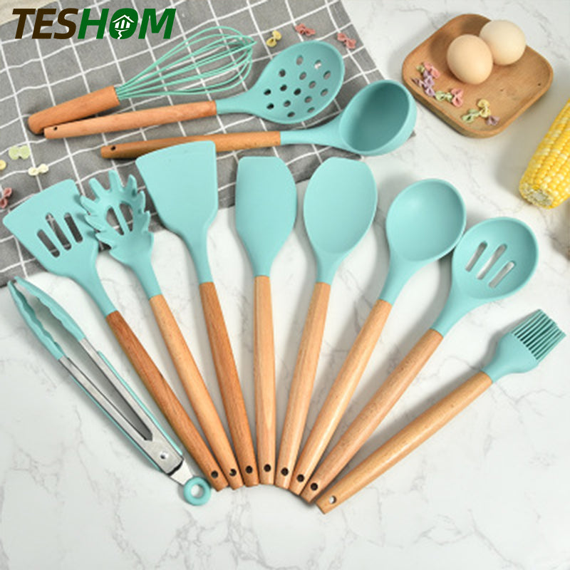 Green Silicone Kitchen Utensils Set Heat Resistant Nonstick Baking Cooking Tools 2/3/4/5/6/7/8/9 PCS Kitchenware Accessories